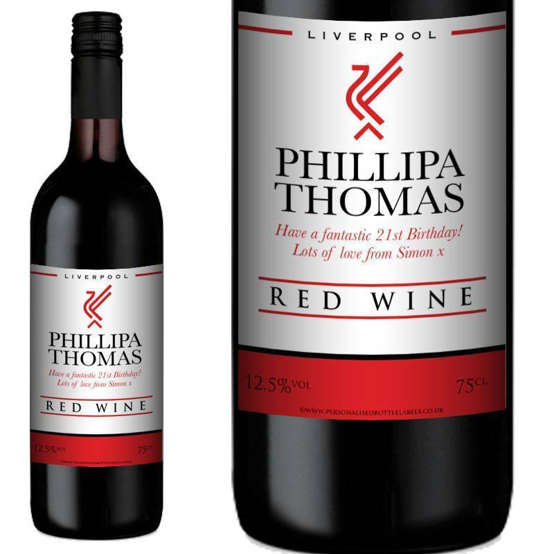 Personalised Liverpool Red Wine Gift Any Occasion