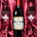 Personalised Red Wine and Engraved Glasses