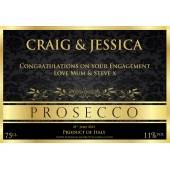 Personalised Prosecco Gold and Black Bottle Label