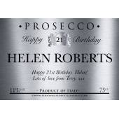 Personalised Birthday Prosecco Label Silver