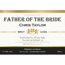 Contemporary Personalised Cava for Weddings Label