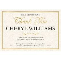 Thank You - Floral Personalised Champagne Label