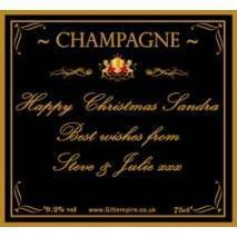 Personalised Christmas Gold Champagne Bottle Label