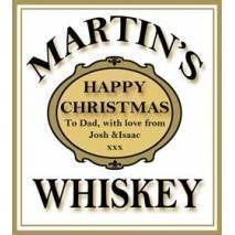 Personalised Christmas Gold and White Whiskey Bottle Label