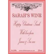 Personalised Christmas Rose Wine Bottle Label