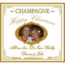 Personalised Christmas Photo Champagne Bottle Label