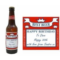 Personalised 4pk Red Square Beer Bottle Labels