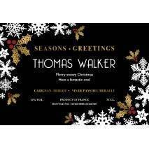 Snowflakes Personalised Christmas Red Wine Label