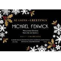 Snowflakes Personalised Christmas Champagne Label