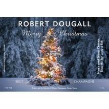 Tree Lights Personalised Christmas Champagne Label