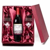 """Personalised """"Congratulations"""" Red Wine & Engraved Glasses"""