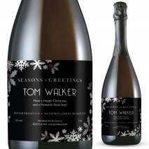 Personalised Prosecco - Christmas Snowflakes Label