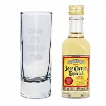 Personalised Shot Glass and Mini Tequila - Text Only