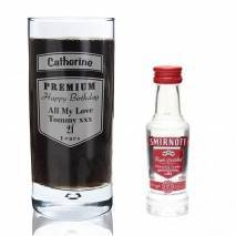 Personalised Premium Hi Ball Glass & Mini Vodka Set