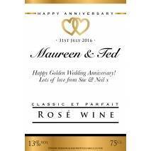 Personalised Anniversary Rosé Wine Label