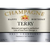 Personalised Birthday Champagne Label Silver Bronze