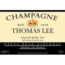 Personalised Birthday Champagne Label in Black and Cream