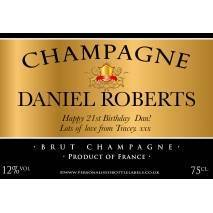 Personalised Champagne Label in Gold and Black
