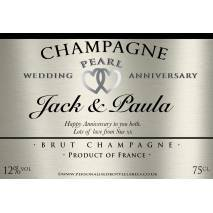 Personalised Pearl Anniversary Champagne Label