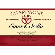 Personalised Ruby Anniversary Champagne Label