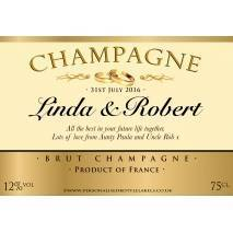 Personalised Wedding Champagne Label Gold