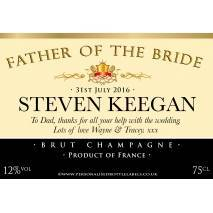 Personalised Wedding Champagne Label with Role & Date