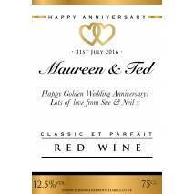 Personalised Anniversary Red Wine Label