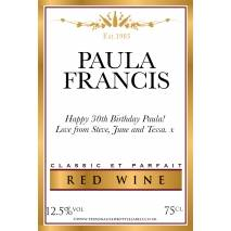 Personalised Gold Border Red Wine Label