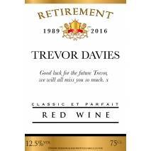 Personalised Retirement Red Wine Label