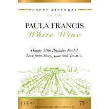 Personalised Vineyard White Wine Label for Any Occasion