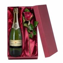 Personalised Champagne with Silk Rose Gift Set