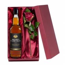 Personalised Dark Rum with Silk Rose Gift Set