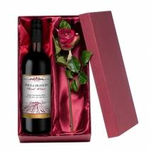 Personalised Red Wine with Silk Rose Gift Set