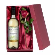 Personalised White Wine with Silk Rose Gift Set