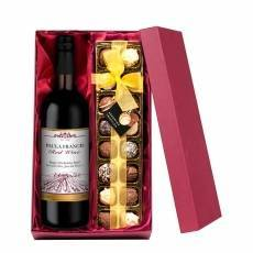 Personalised Red Wine with Hand Made Truffles