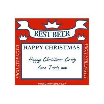 christmas red square beer bottle label 4 99 message to appear on label ...