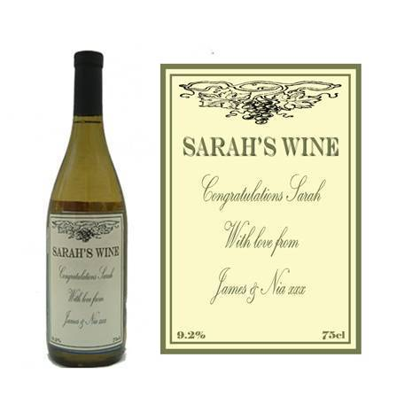 Personalised White Wine Bottle Label