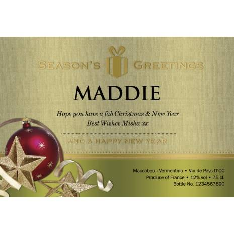 Christmas Baubles - Personalised White Wine Label