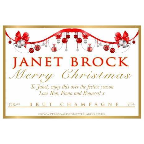 Personalised Christmas Champagne Label Baubles