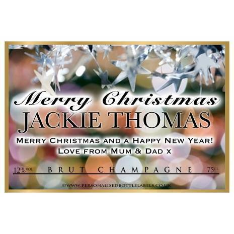 Personalised Christmas Champagne Label Star Background