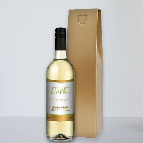 Personalised White Wine - Gold Border