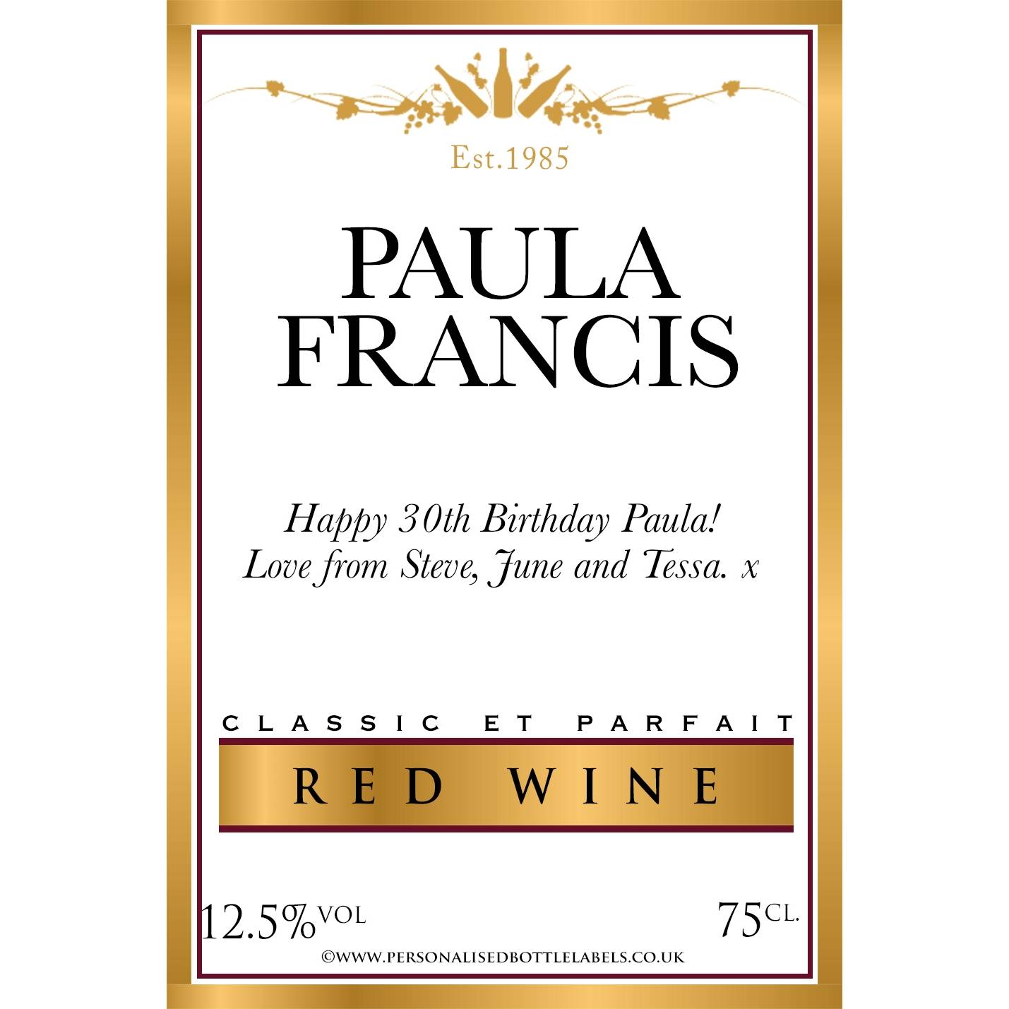 It's just an image of Striking Personalised Red Wine Label