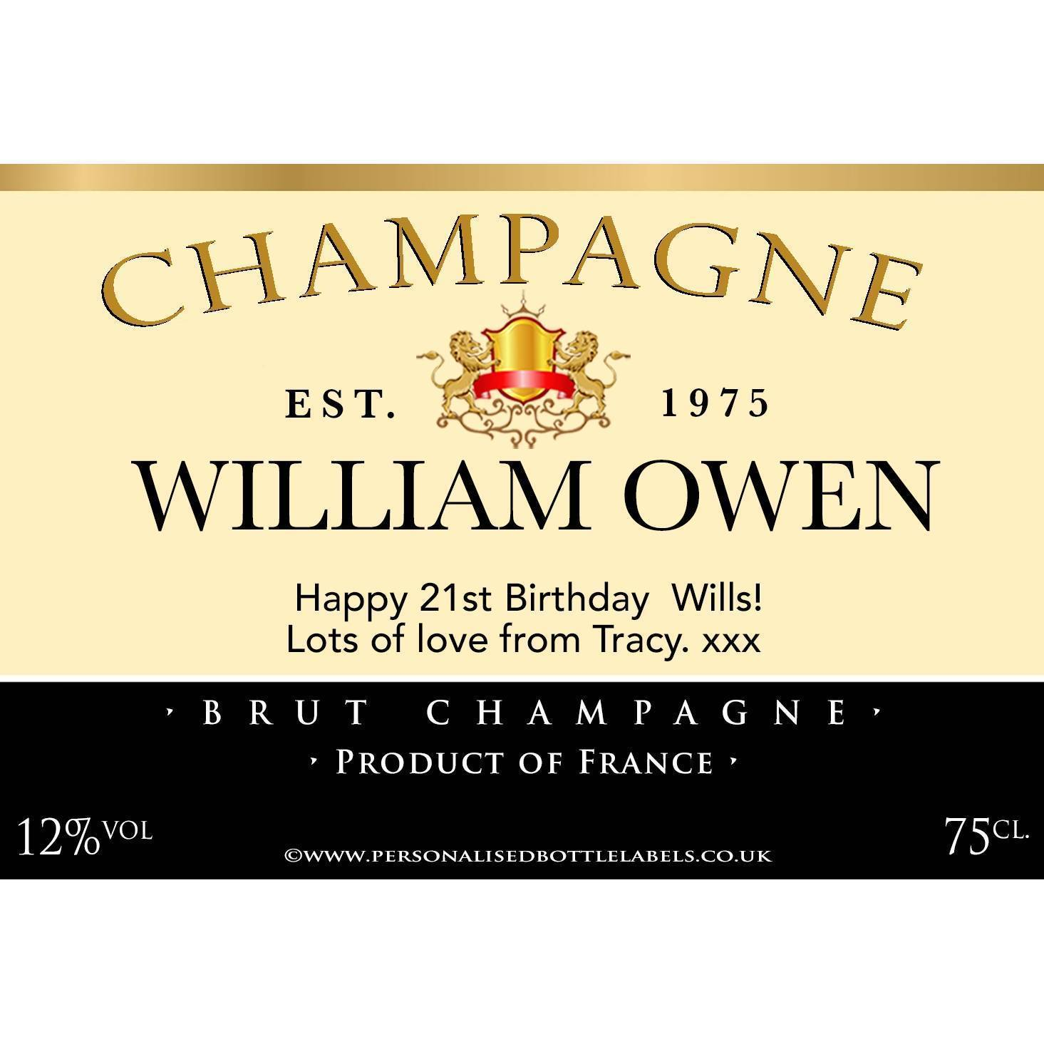 99p personalised champagne bottle label