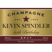 Personalised Birthday Champagne Label - Red