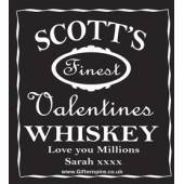 Personalised Valentines Black Style Whiskey Bottle Label