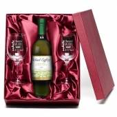 "Personalised ""Cheers"" White Wine & Engraved Glasses"