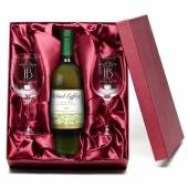 "Personalised ""Happy Birthday"" White Wine & Engraved Glasses"