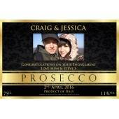 Personalised Prosecco with PHOTO Gold and Black Bottle Label