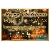 Personalised Christmas Champagne Label Blur Background
