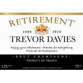 Personalised Retirement Champagne Label Grey